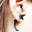 2 Pcs 3D Double Sided Black Dolphin Ear Studs