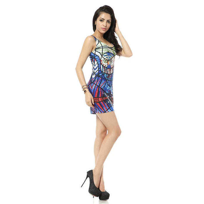 Glass Owl Print Mini Bodycon Tank Dress