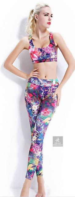 3D Print Yoga Set With Sport Pants+ Yoga Bra