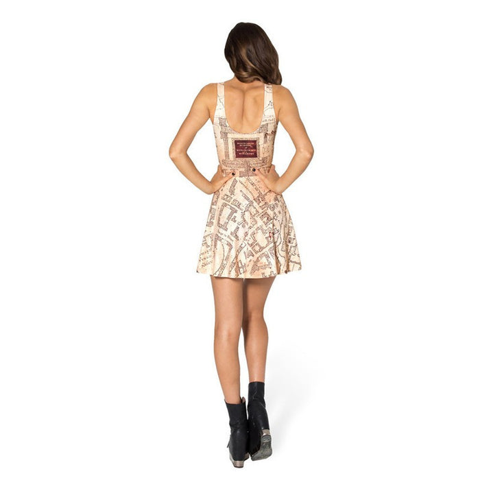 Harry Potter Marauder's Map Printed Short Pleated Dress