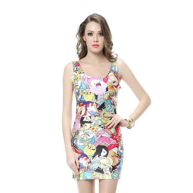 Cute Adventure Time Print Tank Dress
