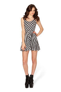Black & White Checkered Pleated Sleeveless Dress