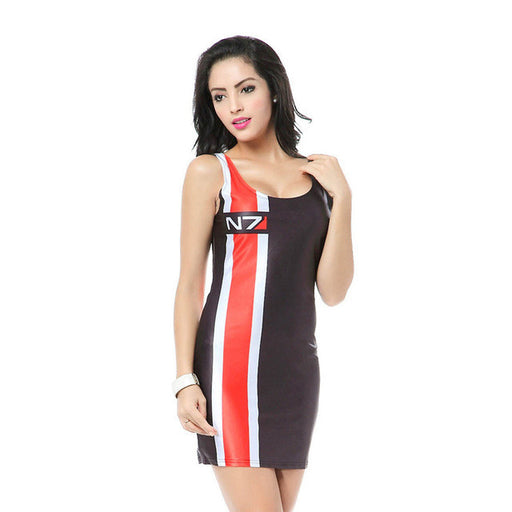 Mass Effect N7 Digital Print Bodycon Tank Dress