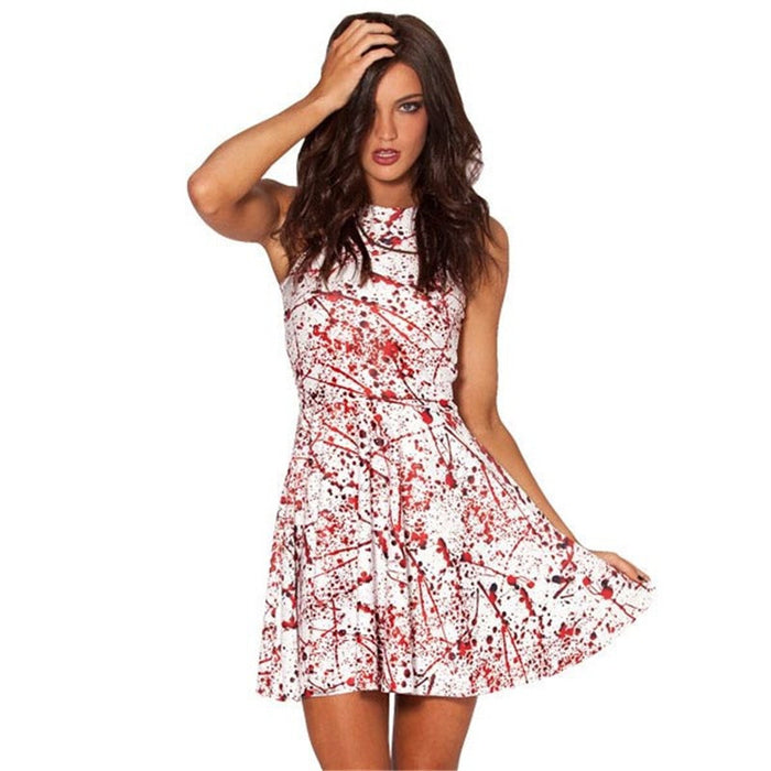 Blood Splatter Digital Print Pleated Skater Dress
