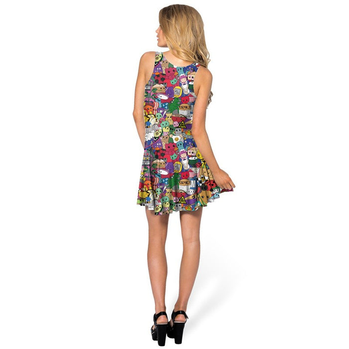 Colorful Cartoon Printed Sleeveless Pleated Skater Dress