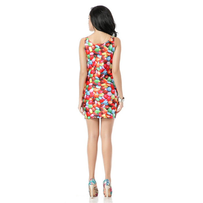 The Colorful Candy Print Bandage Tank Dress
