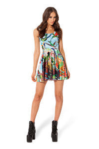 Birds 3D Print Colorful Pleated Skater Dress