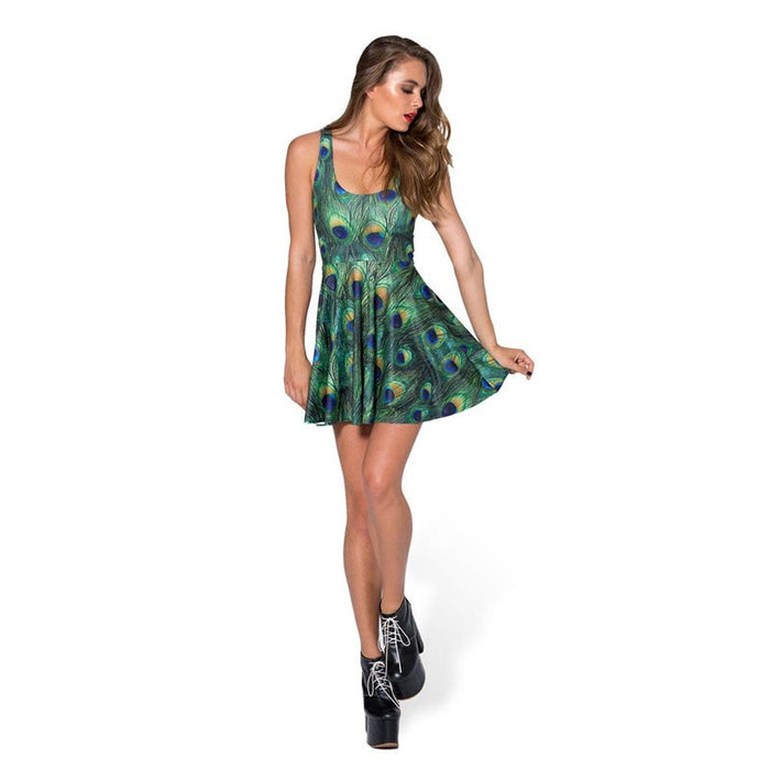 Peacock Feather Print Sleeveless Pleated Skater Dress