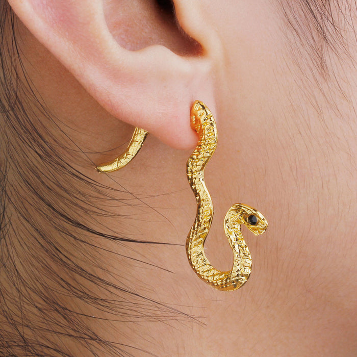 One Piece 3D Double Sided Gold Snake Stud Earrings For Right Ear