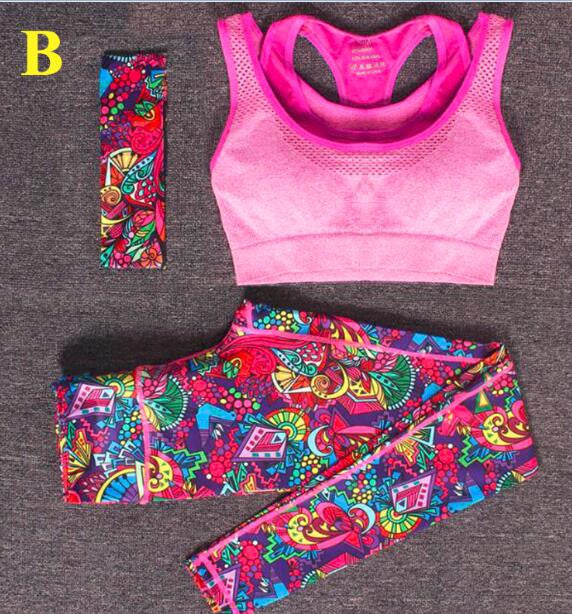 3pcs Yoga Fitness Sports Set With Headband+Bra+Printed Yoga Pants