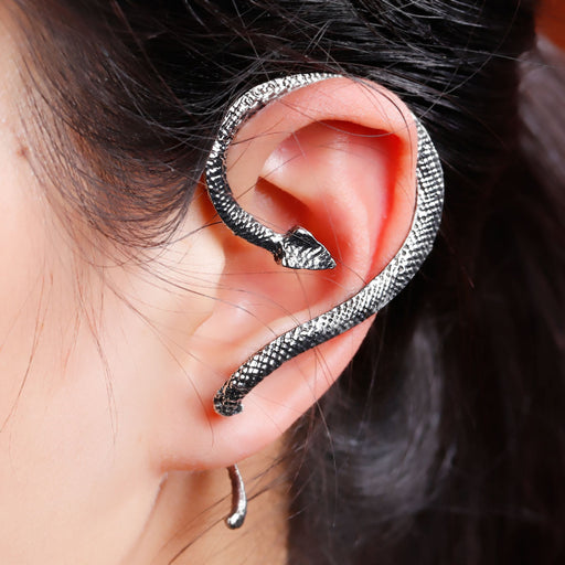 Antique Silver Snake Wrap Earrings For Left Ear