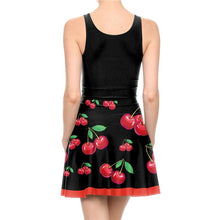 Vintage Cherries Printed Sleeveless Pleated Skater Dress