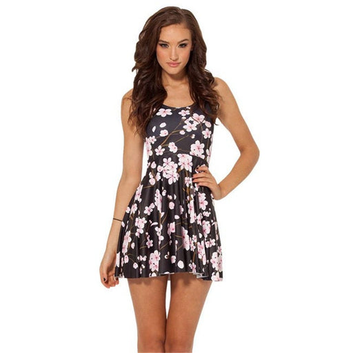 Plum Flowers Print Sleeveless Skater Dress