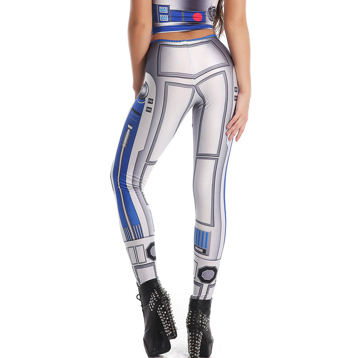 3D Printed Blue/Gray Star Wars Leggings & Crop Top Set