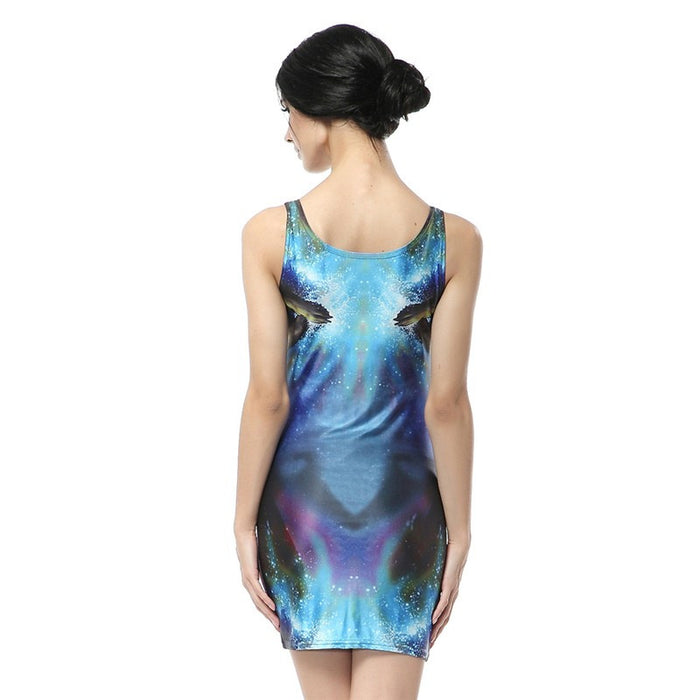 Fire Fox Digital Print Mini Bodycon Dress