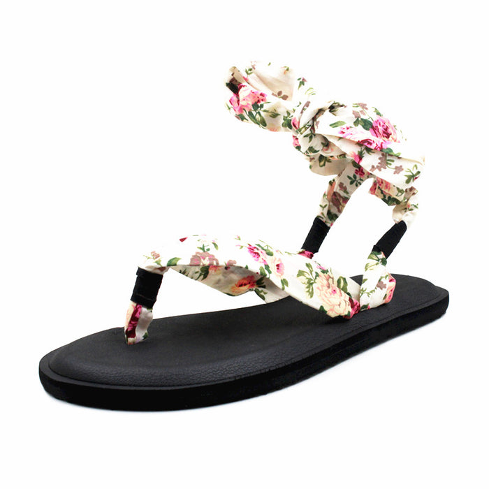 Yoga Mat Sole Sling Back Light Flower Print Gladiator Sandals