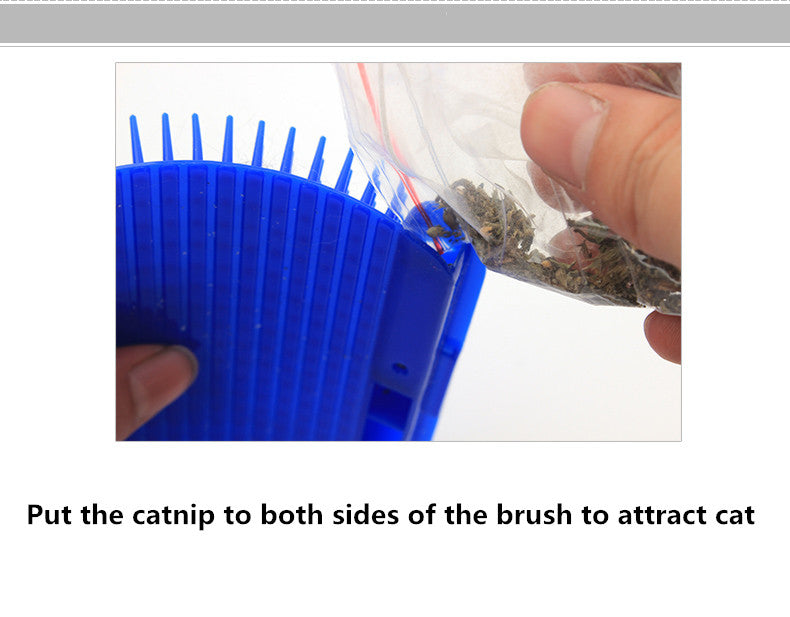 Pet Cat Self Grooming Hair Removal Brush + Free Catnip