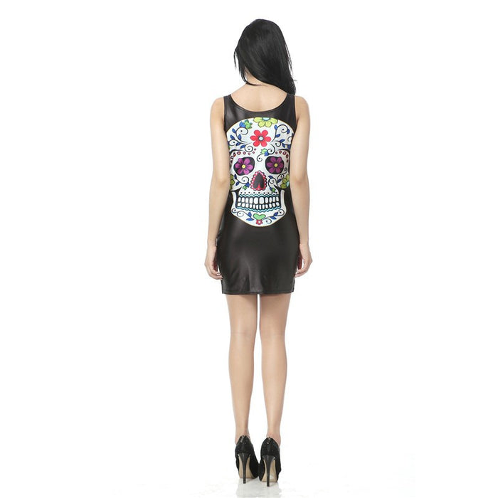 Day Of The Dead Artwork Printed Mini Bandage Tank Dress