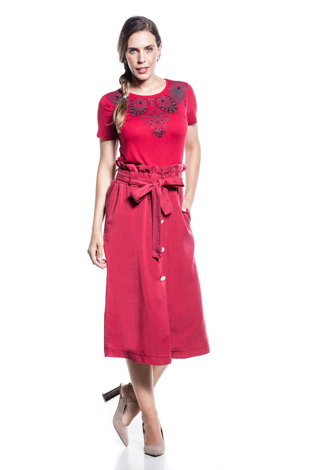Cotton Brothers High Waisted Ruched Skirt, Deep Red, 09S192301