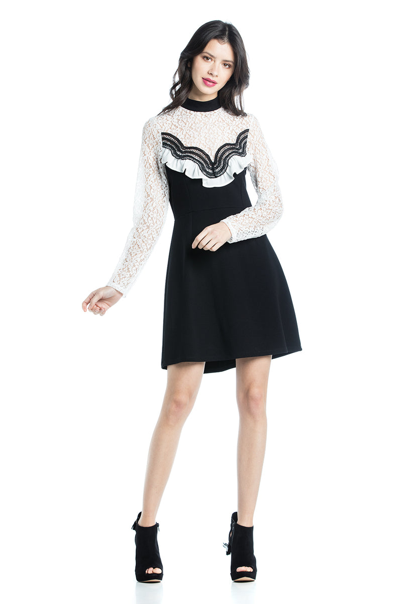 Cotton Brothers Black Lace Mini Dress