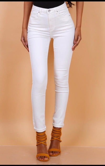 Toxik HighWaisted Bum Lift Jeans, Cream, L185