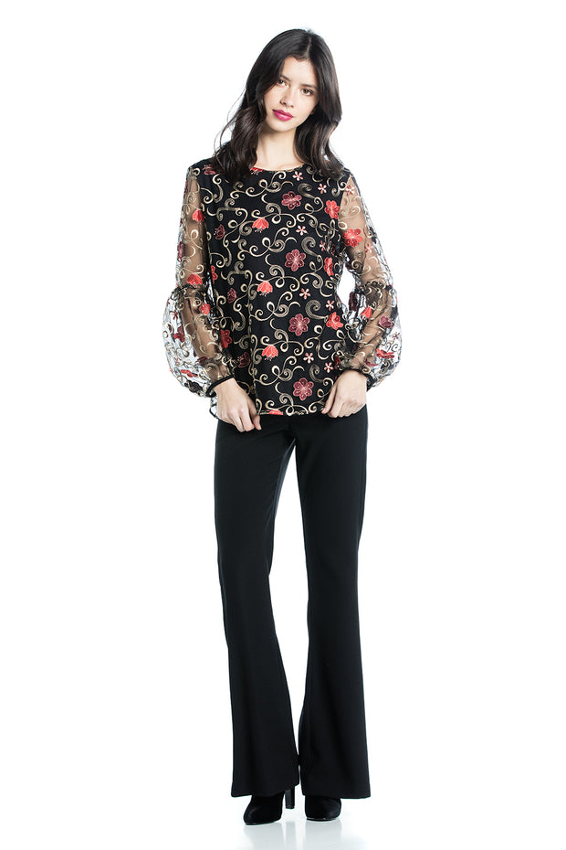 Cotton Brothers Embroidered Floral Top