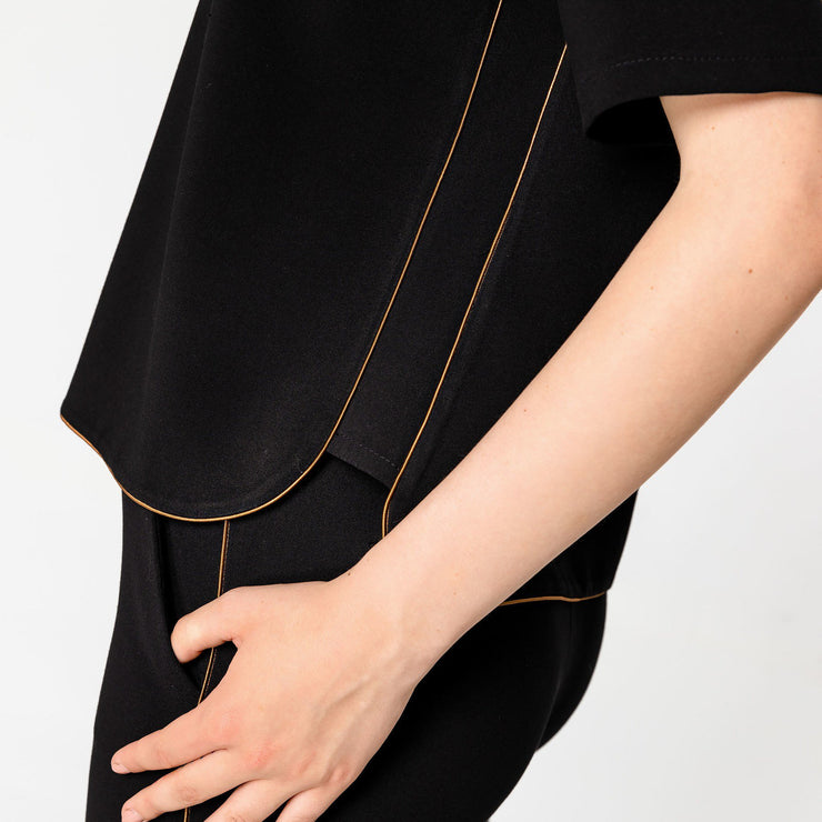 Access Fashion Black Blouse with Camel Piping Detail