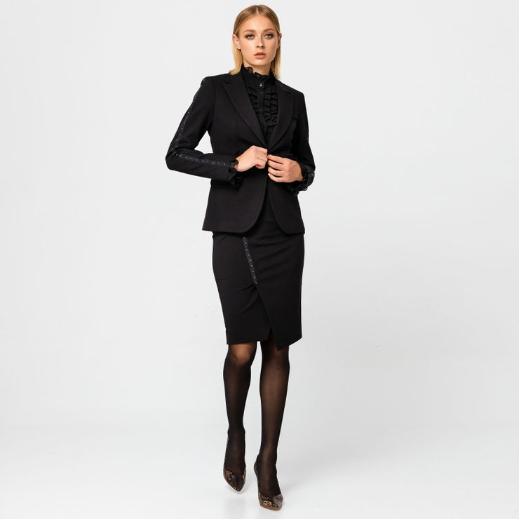 Access Fashion Black Wrap Pencil Skirt