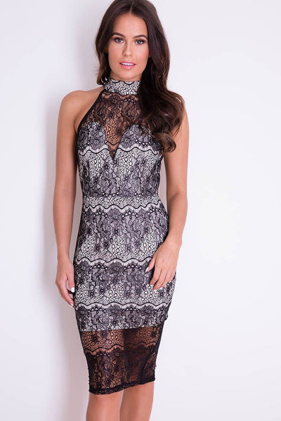Girl in Mind Alexandra Black High Neck Lace Backless Midi Dress
