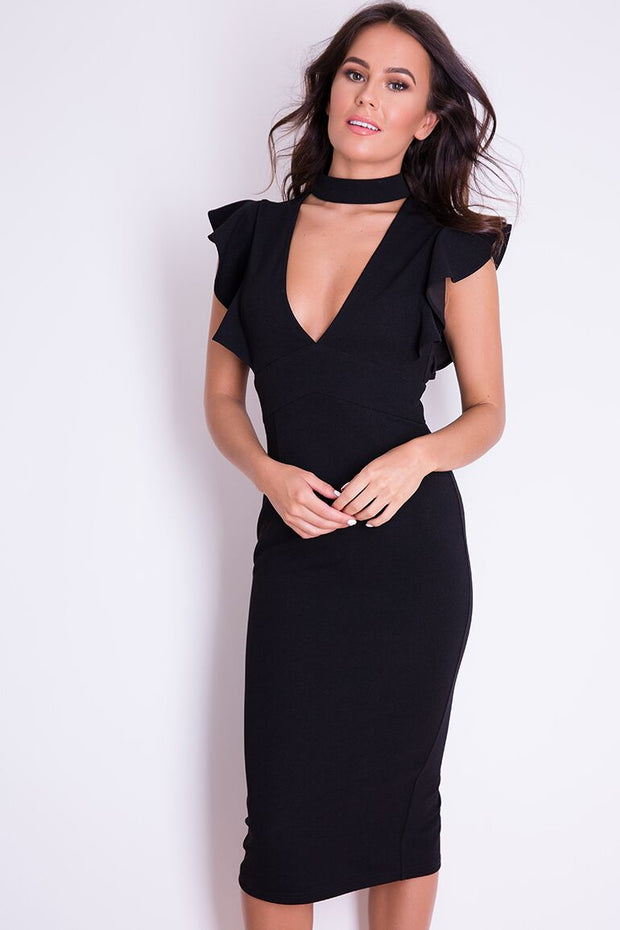 Zoe V Neck Choker Midi Dress, Black