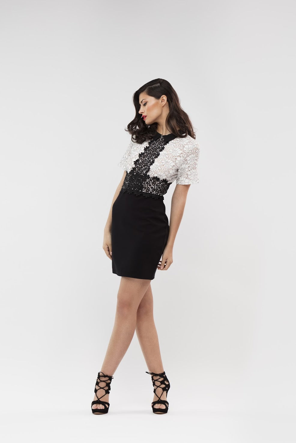 Off White/Black Lace Collar Dress