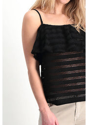 Garcia Black Lace Embroidery Off Shoulder Top