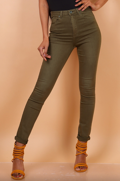 Toxik Khaki HighWaisted Bum Lift Skinny Jeans, L185