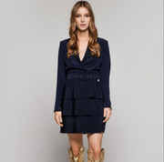 Access Fashion Navy Pleated Dress