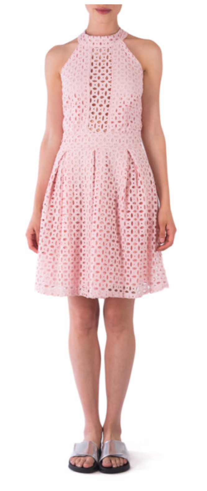Goa Goa Anthia Pink Lace Grid Dress