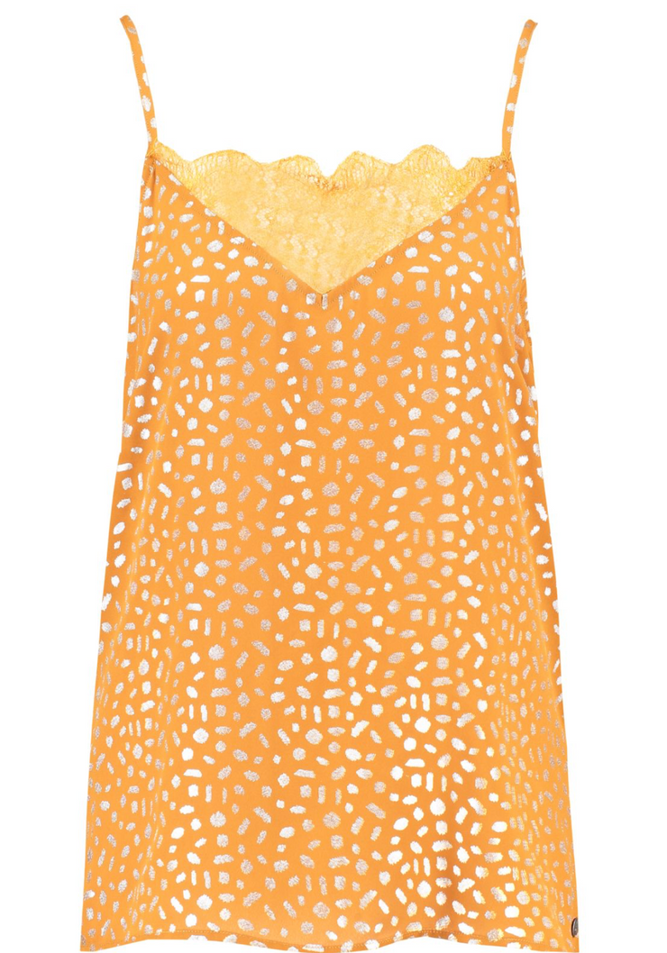 Garcia Orange Cami Top with Silver Dot Print and Lace, C90001