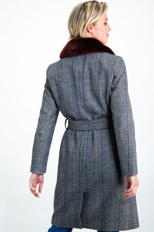 Garcia Checked Long Coat with Burgundy Faux Fur Collar