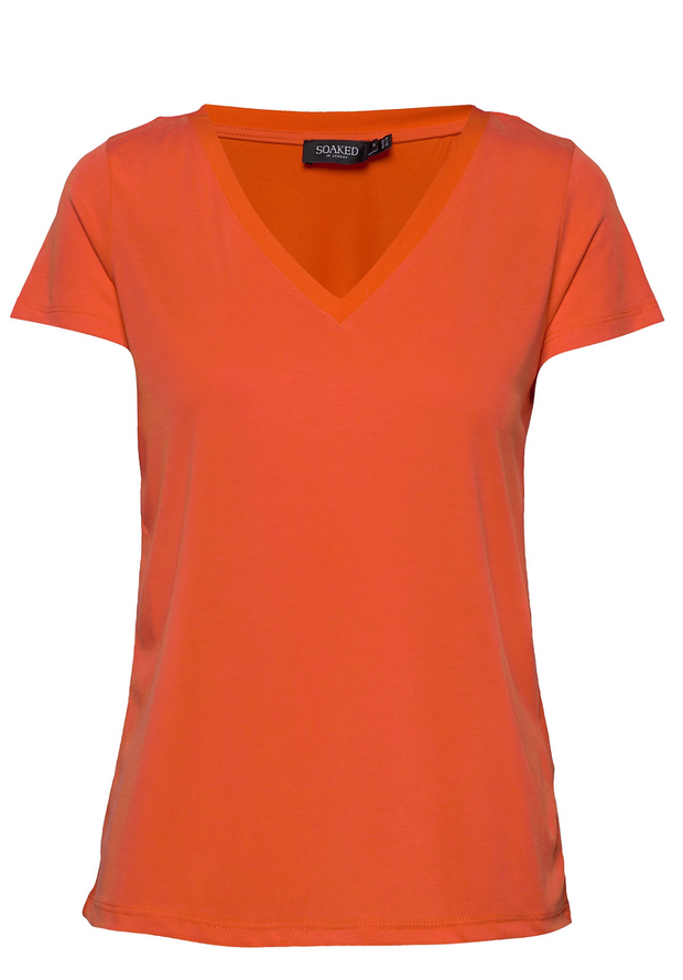 Soaked in Luxury Columbine V-Neck T-Shirt, Tangerine Tango, 30404284