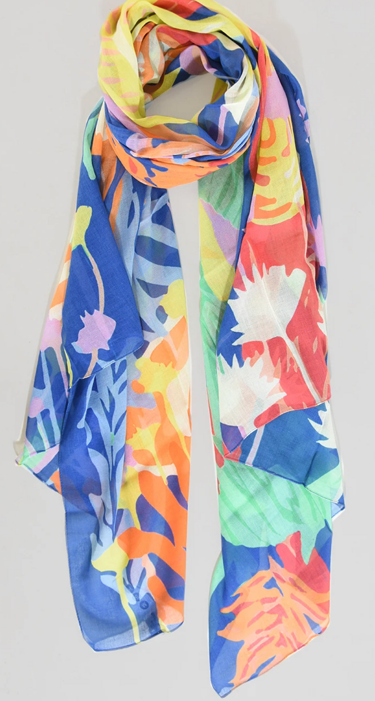 Ruby 67 Blue Tropical Print Scarf