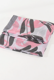 Ruby 67 Grey & Pink Leaf Print Scarf