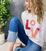 Love, Sweat & Tees Relaxed Fit Love Sweatshirt, Vintage White