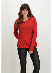 Garcia Red Top with Waterfall Neckline