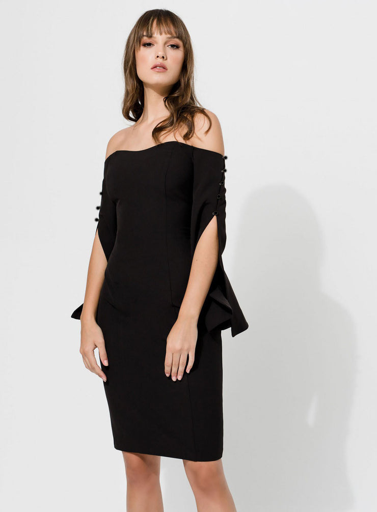 Access Fashion Black Off the Shoulder Midi Pencil Dress