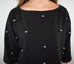 Access Fashion Black Cropped Blouse with Metallic Pearls