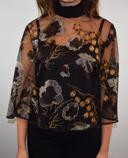 Access Fashion Black Embroidered Flower Tulle Cape Top