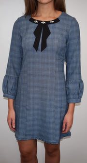 Akinolaude Grey/Blue Checked Dress