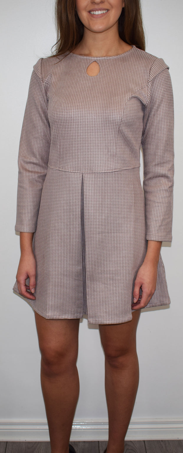 Akinolaude Pink Dogtooth Print A-Line Dress