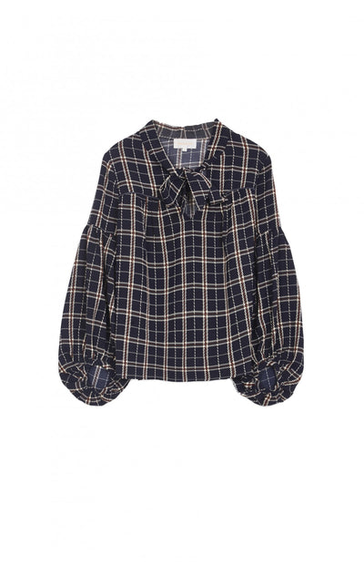 Grace and Mila Reaction Navy Checked Blouse