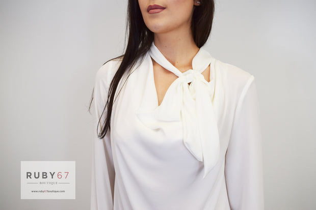 Cotton Brothers Cowl Neck Blouse with Tie
