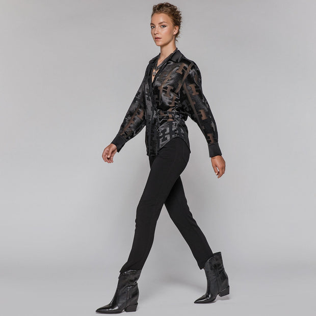 Access Fashion Satin Black Embossed Wrap Top, W0-2106
